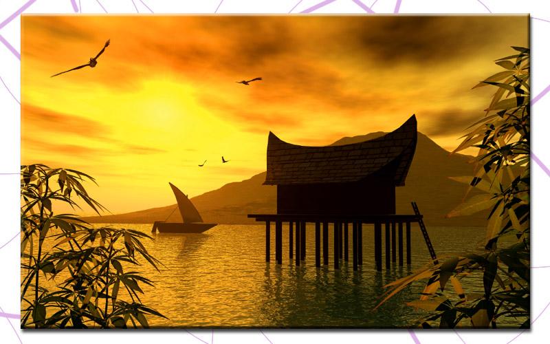 Asiatische Bilder Auf Leinwand japanese house 100x60cm bild asien leinwand a00489 eur 17 90