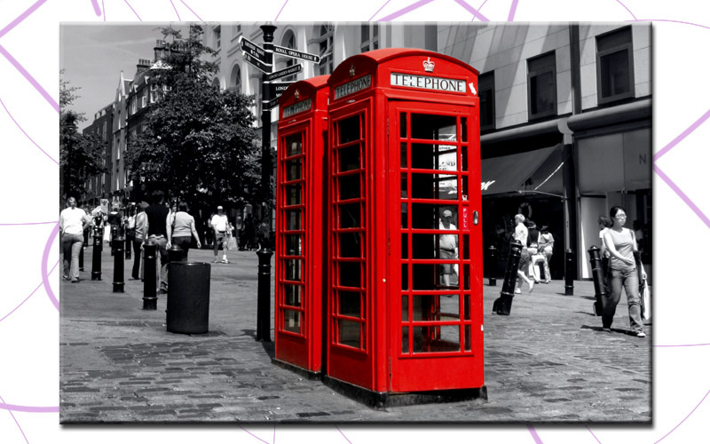 red phone box 80x50cm bild london leinwand a00491 ebay. Black Bedroom Furniture Sets. Home Design Ideas